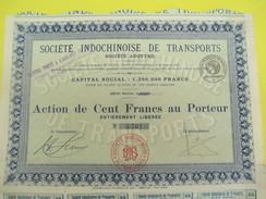 Société Indochinoise De Transports/S.A./Action De 100 Francs Au Porteur/Indochine/Paris/Vers 1950    ACT148 - Asie