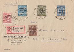 SBZ R-Brief Mif Minr.189,192,203,205,208 Dresden 4.11.48 - Sowjetische Zone (SBZ)