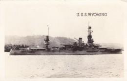USS Wyoming US Navy Battleship, C1940s Vintage Real Photo Postcard - Warships