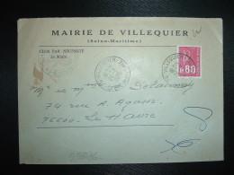 LETTRE TP MARIANNE DE BEQUET 0,80 OBL.24-2-1976 VILLEQUIER (76 SEINE-MARITIME) MAIRIE - Non Classés