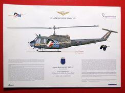 """Stampa _ 100 ANNI DI VOLO VENARIA REALE _ Aviazione _ ELICOTTERO Augusta-Bell AB-205 """"HUEY"""" _ GIORGIO CIANCIA _ Esercito - Helicopters"""