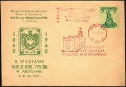 Poland 1960 Cancellation - 100 Years Of Polish Stamp, Philatelic Exhibition In Jaroslaw - Jaroslaw - 1944-.... Republic