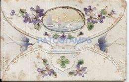 74693 ART ARTE EMBOSSED COVER LANDSCAPE AND FLOWER BIRD POSTAL POSTCARD - Unclassified
