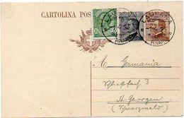 ITALY / ITALIA 1926. Entire P.C. Cartolina Postale Da 40 Cent. Brown, From Laurana, Carnaro To St. Georgen, Germany - 1900-44 Vittorio Emanuele III