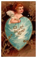 11097 Valentine's  Cupid Inside Blue  Heart O Devoted Heart - Valentine's Day