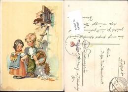 545590,Künstler AK Hahn Humor Kinder Kind Eier Feldpost Strausberg - Humor