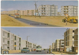 Ashdod: PLYMOUTH SEDAN '53, FREIGHT BICYCLE, 2x AUTOBUS/COACH, CONSTRUCTION VEHICLE - New Town Of The Future - (Israël) - PKW