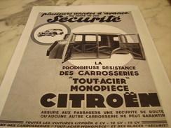 ANCIENNE AFFICHE PUBLICITE SECURITE CITROEN   1933 - Other