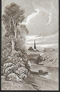 ! - Paysage Dessiné (église, Pont, Rivière, Barque ...) - Cartes Postales