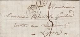 Lettre Cachet AVALLON Yonne 2/9/1842 Taxe Manuscrite + 1D Pour Lyon - 1801-1848: Précurseurs XIX