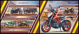 CENTRAL AFRICA 2017 - Motorcycles, M/S + S/S Official Issue - Motorbikes