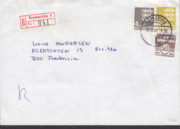 Denmark Registered Recommandé Einschreiben Label Bro IId FREDERICIA (1.) 1983 Cover Brief 3-Colour Franking - Briefe U. Dokumente