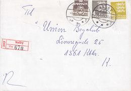 Denmark Registered Recommandé Einschreiben Label Bro IId VALBY 1983 Cover Brief 3-Colour Franking - Briefe U. Dokumente