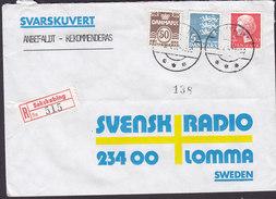 Denmark Registered Recommandé Einschreiben Label Bro IId SAKSKØBING 1983?Cover Brief 3-Colour Franking To Sweden 2 Scans - Briefe U. Dokumente