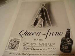 ANCIENNE PUBLICITE SCOTCH WHISKY QUEEN ANNE 1939 - Affiches