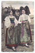 CPA Colorisée Elsässer Trachten Costumes Alsaciens Alsace Un Homme Deux Femmes  éditeur G. Sch. N°2163 écrite - Trachten