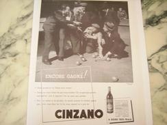 ANCIENNE PUBLICITE CINZANO ENCORE GAGNE 1939 - Posters