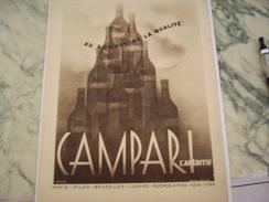 ANCIENNE PUBLICITE CAMPARI APERITIF  1939 - Alcohols