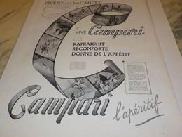 ANCIENNE PUBLICITE CAMPARI APERITIF VACANCES 1939 - Alcools