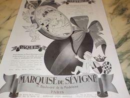 ANCIENNE PUBLICITE BAPTEME PAQUES LA  MARQUISE DE SEVIGNE 1933 - Posters
