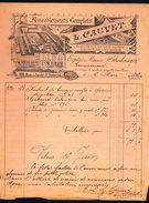 Facture Ancienne Illustrée. Cauvet, Fabrique De Meubles, Paris (11e) 1890 - France