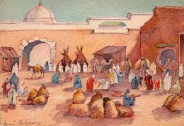 CARTE POSTALE. MAROC. MARRAKECH. CARAVANE SUR MARCHE AU BLE. DESSIN HENRI NOIZEUX.  BARRE DAYEZ.1961. Achat Immédiat - Marrakech