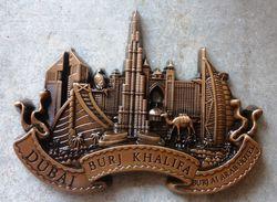Burj Khalifa & Burj Al Arab, DUBAI, Souvenir Metal Fridge Magnet (Brand New) - Tourism