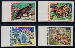 D0276 CONGO (Brazzaville) 1974,  SG 437-40 Cats, IMPERF - Nuovi