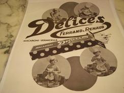 ANCIENNE PUBLICITE PATE ALIMENTAIRE  DELICES MACARONI-VERMICELLE 1933 - Posters