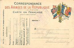 A-17.7085 :  CORRESPONDANCE DES ARMEES. CARTE FRANCHISE MILITAIRE. DRAPEAUX - Marcophilie (Lettres)