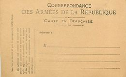 A-17.7088 :  CORRESPONDANCE DES ARMEES. CARTE FRANCHISE MILITAIRE. - Marcofilia (sobres)