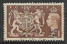 Great Britain, George VI, 1951, £1 Brown,   C.d.s. Used - Used Stamps