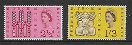 Great Britain,Elizabeth II, 1963 Freedom From Hunger, Phosphor Issue, Set Of 2, MNH ** - Unused Stamps