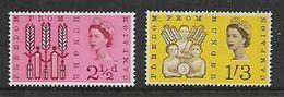 Great Britain,Elizabeth II, 1963 Freedom From Hunger, Phosphor Issue, Set Of 2, MNH ** - 1952-.... (Elizabeth II)