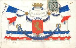 VALENCIENNES CARTE AVEC BLASON ET DRAPEAUX - Valenciennes