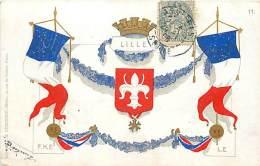 LILLE CARTE BLASON ET DRAPEAUX - Lille