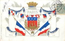 PARIS CARTE BLASON ET DRAPEAUX - Francia