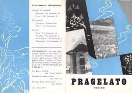 """06091 """"PIEGHEVOLE PUBBLICITARIO - DEPLIANT TURISTICO - PRAGELATO - TORINO"""" ORIGINALE 1961 - Dépliants Turistici"""