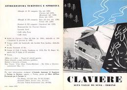 """06093 """"PIEGHEVOLE PUBBLICITARIO - DEPLIANT TURISTICO - CLAVIERE ALTA VALLE DI SUSA - TORINO"""" ORIGINALE 1961 - Dépliants Turistici"""