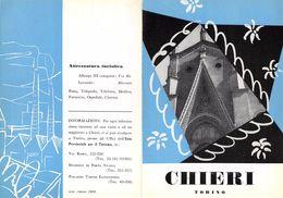 """06094 """"PIEGHEVOLE PUBBLICITARIO - DEPLIANT TURISTICO - CHIERI - TORINO"""" ORIGINALE 1961 - Dépliants Turistici"""