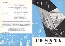 """06097 """"PIEGHEVOLE PUBBLICITARIO - DEPLIANT TURISTICO - CESANA - TORINO"""" ORIGINALE 1961 - Dépliants Turistici"""