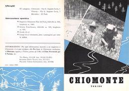 """06098 """"PIEGHEVOLE PUBBLICITARIO - DEPLIANT TURISTICO -  CHIOMONTE - TORINO"""" ORIGINALE 1961 - Dépliants Turistici"""