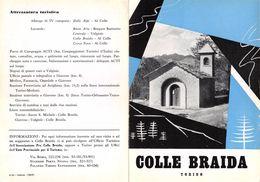 """06099 """"PIEGHEVOLE PUBBLICITARIO - DEPLIANT TURISTICO - COLLE BRAIDA - TORINO"""" ORIGINALE 1961 - Dépliants Turistici"""