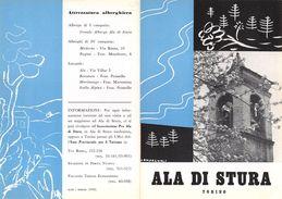 """06102 """"PIEGHEVOLE PUBBLICITARIO - DEPLIANT TURISTICO - ALA DI STURA - TORINO"""" ORIGINALE 1961 - Dépliants Turistici"""