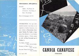 """06105 """"PIEGHEVOLE PUBBLICITARIO - DEPLIANT TURISTICO - CANDIA CANAVESE - TORINO"""" ORIGINALE 1961 - Dépliants Turistici"""