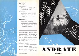 """06108 """"PIEGHEVOLE PUBBLICITARIO - DEPLIANT TURISTICO - ANDRATE - TORINO"""" ORIGINALE 1961 - Dépliants Turistici"""
