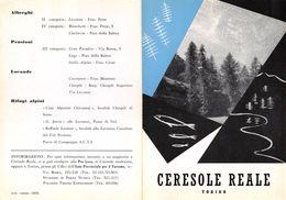 """06110""""PIEGHEVOLE PUBBLICITARIO - DEPLIANT TURISTICO - CERESOLE REALE - TORINO"""" ORIGINALE 1961 - Dépliants Turistici"""