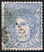 España 1870, Alegoría De España, 50 Mil. De Escudo, Matasellados, Tipo A (c) - CF4098 - 1870-72 Regencia