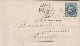 Yvert 29 Napoléon Lettre Facture Desportes  Cachet LE MANS Gare  Losange GC 2188 Du 120/2/1870 Pour Laval - Marcophilie (Lettres)