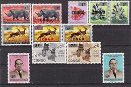 CONGO REPUBLIQUE DU (1964) - COB 532-534 & 536-544 (MNH) - Timbres